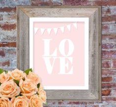 Free printable 8x10 nursery LOVE poster printable