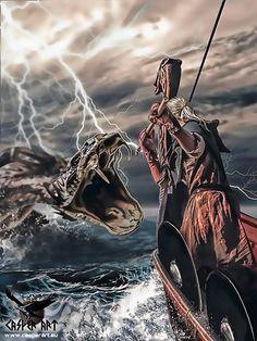 Jormungandr or the Midgard Serpent by thecasperart