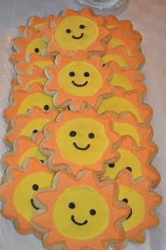 "cute sunshine cookies for the ""you are my sunshine"" party. :)"