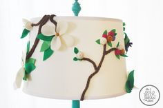 Floral Lamp Shade, diy fun shade for your kids room, and the little ones can even help make it!