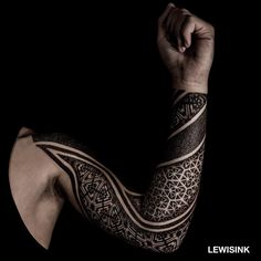 full sleeve geometric tattoo by lewisink
