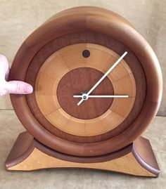 C.L. Wilhelm Handmade Mantle clock chimes Mahogany Cheery wood art deco 1996