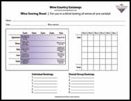 wine tasting score card