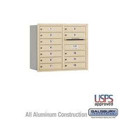4C Horizontal Mailbox - 7 Door High Unit (27 Inches) - Double Column - 12 MB1 Doors - Sandstone - Rear Loading - USPS Access by Salsbury Industries. $607.50. 4C Horizontal Mailbox - 7 Door High Unit (27 Inches) - Double Column - 12 MB1 Doors - Sandstone - Rear Loading - USPS Access - Salsbury Industries - 820996414762. Save 10%!