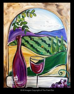 Wine Over Tuscany Painting - Jackie Schon, The Paint Bar