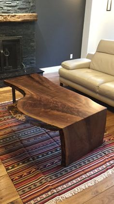 Vivre à bord Coffee Table, Table basse en bois, Table à manger bord Live, Live Edge banc, Tables basses, Tables de salon