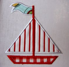 Summer Boat - machine embroidery applique design