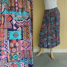 geometric tribal print maxi skirt . vintage 90s . www.nesteggvintage.etsy.com