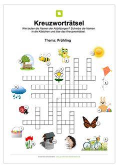 Ein kostenloses Kreuzworträtsel zum Frühling für Kinder.