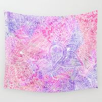 Wall Tapestries featuring Pink Purple Paisley Love by Girly Trend