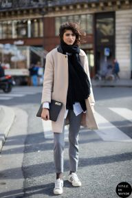 Mica Arganaraz after Stella McCartney fashion show. Shop this look (or similar) here: Coat: DKNY Oversized wool-blend coat // Ted Baker Belted Wrap Coat in Pale Pink // ASOS Coat In Cocoon Fit With Faux Fur Collar Pants: ASOS Cigarette Trousers In Crepe // JIL SANDER Wool-blend felt tapered pants