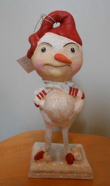 "View Item: Christmas Snowball Buddy 9""  Bethany Lowe designed by Debra Schoch Paper Mâché snowman"