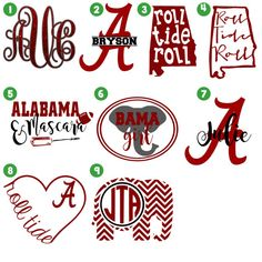 ALABAMA Monogram decal /Monogram sticker/ by PumpkinWishes on Etsy Monogram Stickers, Monogram Shirts, Vinyl Shirts, Anchor Monogram, Monogram Fonts, Crimson Tide Football, Alabama Crimson Tide, Alabama Football, Free Football
