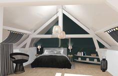 suite parentale sous les combles - création 3D - décoration et aménagement d'espace par Uniq intérieurs - Pays de La Loire - tous droits réservés. bleu canard / chambre / combles / parquet / fauteuil design / meuble sur mesure / étagère / suspension bois