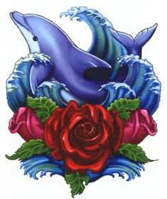 Red Rose And Dolphin Tattoos Design