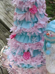 Romantic Shabby Chic Christmas tree, Pink and Turquoise with Glitter and Glass    SALE. $30.00, via Etsy.