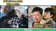 Translation: Relationships between EXO and BTS. Relationships between EXO-L's and ARMY's.