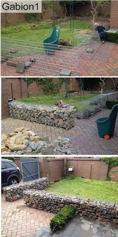 gabion wall construction using 600mm tall x 375mm thick gabions http://www.gabion1.com.au