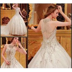 Luxurious Ball Gown Halter Diamond Cathedral Train Wedding Dress