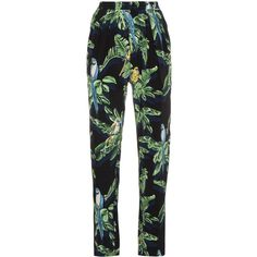 Stella McCartney Silk Tropical Print Trousers (177.285 HUF) via Polyvore featuring pants, black, stella mccartney pants, stella mccartney, stella mccartney trousers, silk trousers and tropical print pants