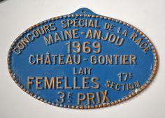 1969 Vintage French Blue Farmhouse Plaque Agriculture Race Award Metal #frenchcountry #french #bovine #cattle #agriculture