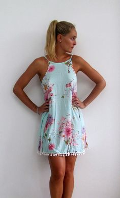 Ladies Swing Dress Aqua Blossom Print with Pink by ljcdesignss Dresses For Teens, Outfits For Teens, Casual Dresses, Summer Outfits, Casual Outfits, Cute Outfits, Summer Dresses, Swing Dress, Dress Skirt