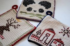 i am obsessed with these. crocheted potholders that are cross-stitched with amazingness.