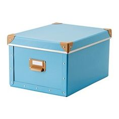 FJÄLLA Box with lid, blue - 27x36x20 cm - IKEA