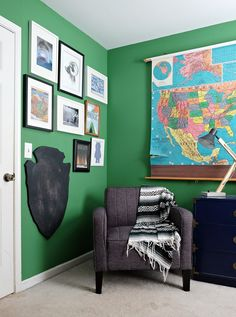 Tour this colorful, modern National Parks inspired kids' room.