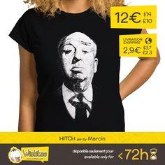 """(EN) """"Hitch"""" designed by the incredible Marcin is our first t-shirt, brought to you by popular vote on www.wistitee.com. This limited edition t-shirt can be yours for only 12€/$14/£10. Reserve yours today!  (FR) """"Hitch"""" créé par l'incroyable Marcin est notre premier t-shirt issu de vos votes sur www.wistitee.com. Cette édition limitée est à vous pour seulement 12€/$14/£10. Dépêchez-vous !  #hitchcock #alfredhitchcock #alfredhitchcockpresents #movies #suspense #oldmovies #masterofsuspense…"""