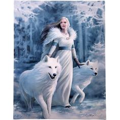 Winter Guardians Wall Plaque Art Print Anne Stokes - Maiden with White Wolves