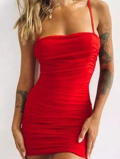 Women's Sexy Slim Solid Color Suspender Dress,Mini Dresses