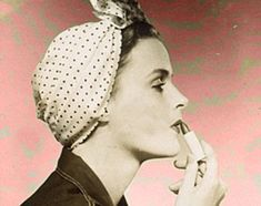 """DIY Fashion: How To Tie a 1940's Style Turban. """"If you want a new hat, now that hats are rationed…"""" you can learn how to tie your hair up with a turban scarf and look 1940s CHIC! I love the """"ambitious"""" double scarf version, just roll the ends and tuck for that """"netty little pussy cat"""" look. WATCH THE VIDEO ON MY FLAPPER DAPPER BLOG: www.shaktibliss.com/blog"""