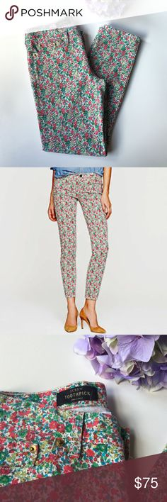 J. Crew Liberty Toothpick. Emma & Georgina Floral No offense to indigo, but we're absolutely obsessed with our new printed toothpick jean. In the same skinny ankle fit as the original, it features a colorful floral from London's Liberty Art Fabrics. Absolutely gorgeous Vintage patterns.  True to size.Sits lower on hips. Slim through hip and thigh, with a skinny, cropped leg.Cotton with a hint of stretch.Traditional 5 pocket styling.Machine wash. Brand new condition. J. Crew Jeans Ankle…