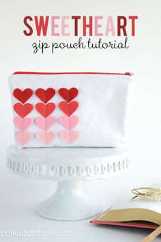 Free tutorial for Valentine's Day sewing projects, make this cute sweetheart zippered pouch as a handmade gift for Valentine's Day.