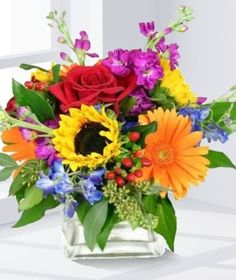 Send the Vibrant Garden Cube bouquet of flowers from Carithers Flowers - Voted Best Florist Atlanta 2012 in Atlanta, GA. Local fresh flower delivery directly from the florist and never in a box!