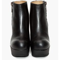 Acne Hybria Leather Wedge Boots For Women (€285) ❤ liked on Polyvore featuring shoes, boots, ankle booties, heels, zapatos, women, black wedge boots, chunky heel boots, black leather ankle booties and black heel boots