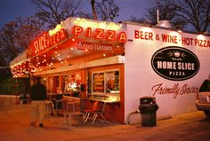 Best pizza is Austin, TX. Home Slice #sxsw Try the eggplant parmesan pie!