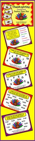 Thanksgiving Smartboard Turkey Time Fun:  Kinder and First