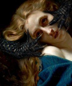 "Modified ""Mary Magdalene in the Cave"" Hugues Merle Renaissance Kunst, Renaissance Paintings, Arte Horror, Horror Art, Marie Madeleine, Arte Obscura, Mary Magdalene, Collage Artists, Old Paintings"