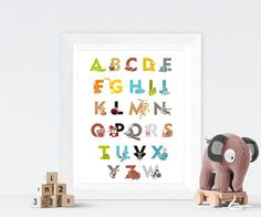 Animal Alphabet, ABC Print, Nursery Wall Art, Kid's Room, Colourfull Animal Alphabet, Cute Animals Alphabet