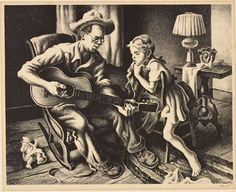 Music as Muse:  The Music Lesson, ca. 1945 Lithograph on paper Thomas Hart Benton American (1889-1975) Gift of Emogene Sternberg, 90.36.5