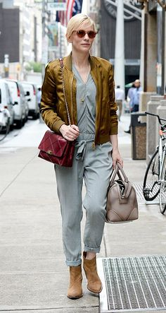 Who: Cate Blanchett What: Roger Vivier bag, Givenchy tote Where: On the street, New York City When: August 13, 2014