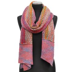 Multi Color Marble Knit Scarf w/ Contrast End-Pink Combo