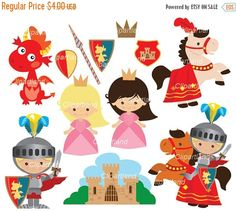 ON SALE INSTANT Download. Knight, princess and dragon clip art. Ck_87.  Personal and commercial use.