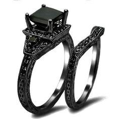 Amazon.com: 2.06ct Black Princess Cut Diamond Engagement Ring Wedding Set 14k Black Gold: Jewelry