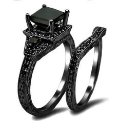 Black Princess Cut Diamond Engagement Ring Wedding Set 14k Black Gold: two components