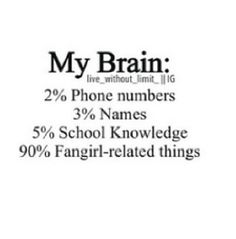 Fangirl. Lol not even the 2% for phone numbers lol #funny #quote