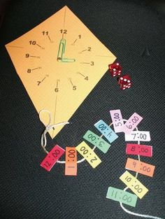 "Kite activities: ""Time Flies!"" kite-themed analog & digital telling time game. FREE"