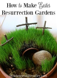 Easter is coming soon and it's a perfect time to make mini resurrection gardens. Creating these simple mini Easter gardens is a quick 30 minute project that will have lasting impact, and memories beyond all the Easter bunny festivities. www.littlehouseonthevalley.com